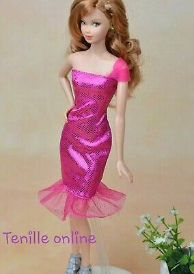 New Barbie doll clothes fashion outfit dress good quality shiny pink AU seller