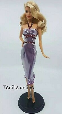 New Barbie doll clothes fashion outfit dress good quality shiny metallic purple