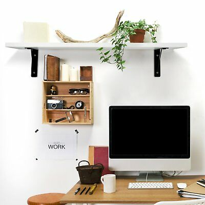 2 Pcs Wall Mounted Hanging Bookshelf Storage Display Rack Wooden Organizer Decor