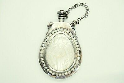 Russian Imperial Solid Silver 84 Mother Pearls Traveling Ikon Bottle Holy Water