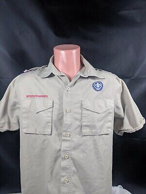 Boy Scouts Of America Scouting Shirt Sz Adult Small Tan Patches