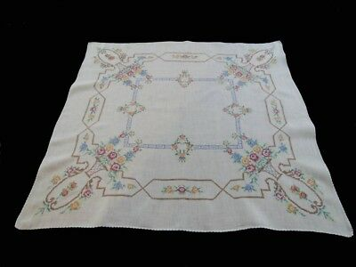 Vintage Hand Embroidered Cross Stitched Linen Supper Cloth