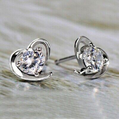 1.50 Ct Heart Shape Round Diamond 14k White Gold Over Solitaire Stud Earrings