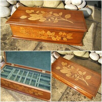 Superb Early Walnut Inlaid Antique Jewellery Box - Fab Interior