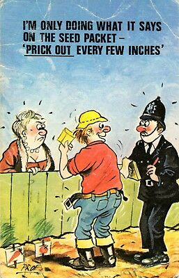 "CARDTOON Series Comic postcard # C37 ""prick out every few inches"" used"