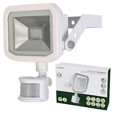 LUCECO OUTDOOR LIGHT Slimline White LED Floodlight PIR IP44 30w Waterproof  IP65