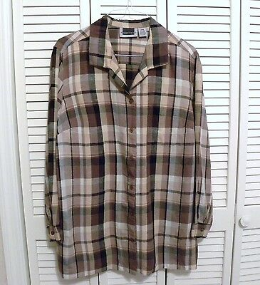 c2b47a5decf MAGGIE BARNES LS Button Blouse Plus Sz 22W Mixed Browns Black Plaid Linen  Rayon