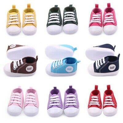 0-12 Cute Baby Toddler Kids Canvas Sneakers Baby Boy Girl Soft Sole Crib Shoes