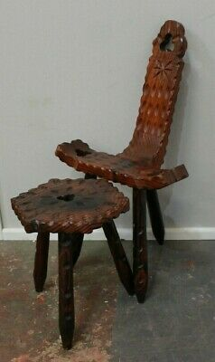 Antique Carved Oak Spinning Stool Chair and Table - 250