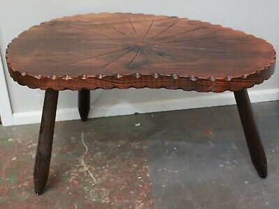 Antique Carved Oak Kidney Shape Spinning Table - 250