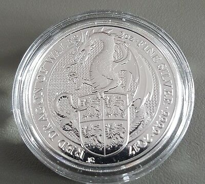 2oz (OUNCE) FINE 999 SILVER 2017 QUEENS BEAST RED DRAGON COIN NEW IN CAPSULE
