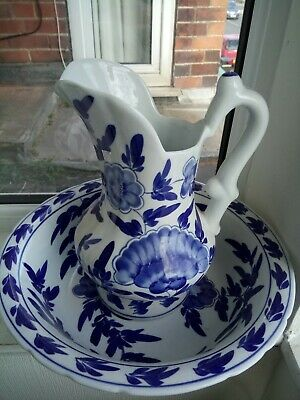 Stunning Blue and White Very Large Vintage Washstand Jug and Bowl