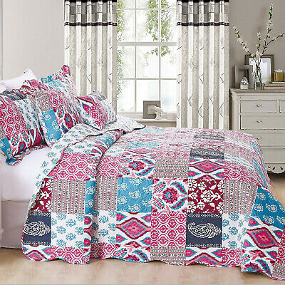 New 3 Piece Patchwork Quilted Bedspread Bed Throws Single Double King Super King