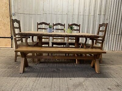 Cool Large 6Ft Solid Wood Rustic Chunky Farmhouse Dining Table 5 Pabps2019 Chair Design Images Pabps2019Com