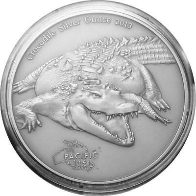 Pacific Wildlife Series 2013 Crocodile - Tokelau 5 Dollar 1 Oz .999 Silver COA