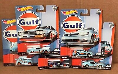 HOT WHEELS DIECAST Car Culture Gulf Racing Set Of 5 Fiat Mustang Nissan Golf GTR