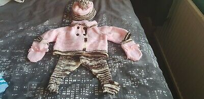 HAND KNITTED BABY girls 4 piece set