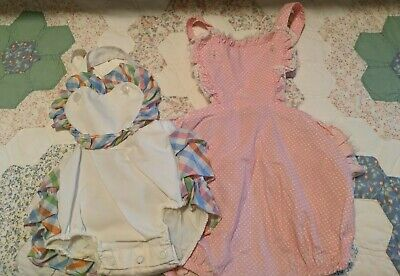 Vintage 2  Sun Suits Rompers Little Craft 3T Ruffles 6-9 months Hearts Pink