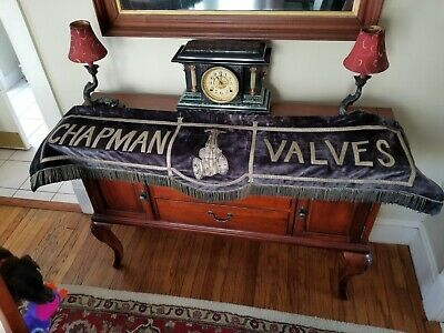 1890's Antique Embroidery Chapman Valves Indian Orchard Ma Advertising
