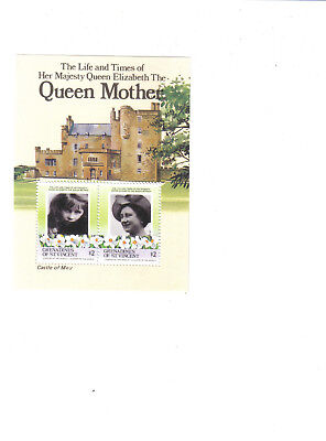 Grenadines of St.Vincent.1985.Elizabeth The Queen Mother.$2 pair on sheet.