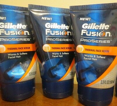 Lot of 3 GILLETTE FUSION PROSERIES THERMAL FACE SCRUB  3.3 oz each