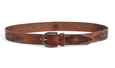 Tan Brown Leather Shell Embroidered Belt NWT$69 Lucky Brand Womens L