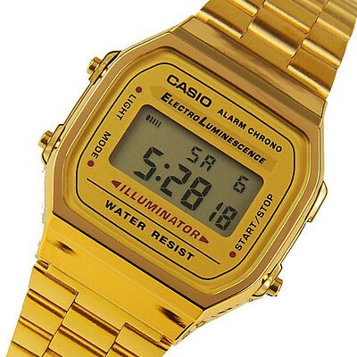 New CASIO MEN'S GOLD TONE STAINLESS STEEL DIGITAL WATCH A168WG