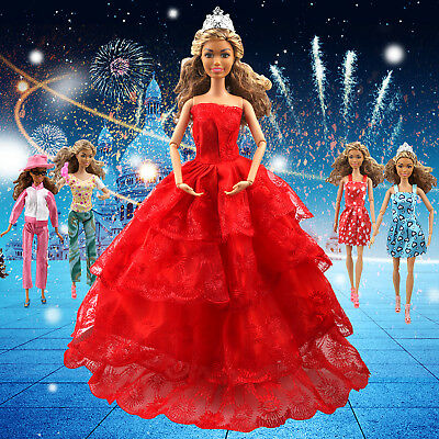 110PCS Barbie Doll Clothes Accessory Party Gown Outfits Shoes Hanger Magic Wand