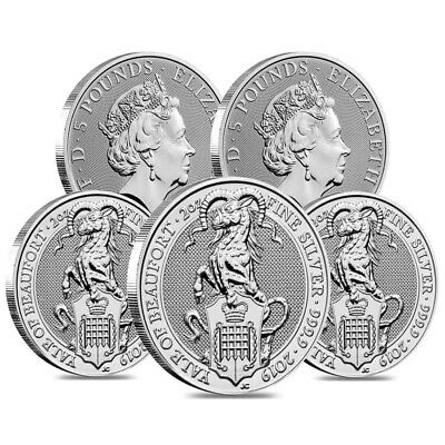 Lot of 5 - 2019 Great Britain 2 oz Silver Queen's Beasts (Yale) Coin .9999 Fine