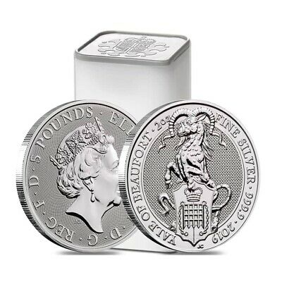 Roll of 10 - 2019 Great Britain 2 oz Silver Queen's Beasts (Yale) Coin .9999