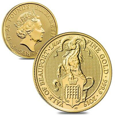 Lot of 2 - 2019 Great Britain 1/4 oz Gold Queen's Beasts (Yale) Coin .9999 Fine
