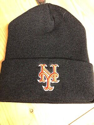 huge discount 08253 1005f New York Mets Black Cuffed Winter Hat Scull Cap Beanie Cuffed Hat