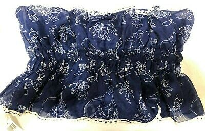 "NWT Disney Parks Navy Sheer Ruffled Lace Trim Scarf ""Friends"" Bambi Simba Daisy"