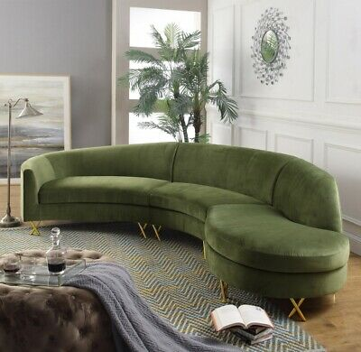 Green Color Velvet Design Contemporary Living Room Furniture Sectional Sofa Set