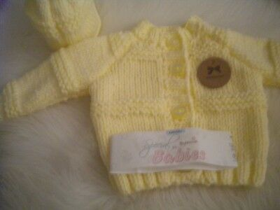 Hand Knitted Lemon Baby Set Chunky Wool: Cardigan & matching Hat size 0-3 months