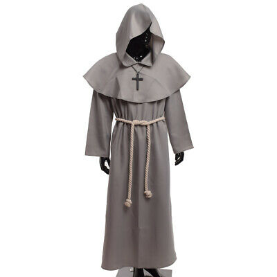 Medieval Clergy Priest Reenactment Cosplay Party Costume Monk Hooded Robe Cloak