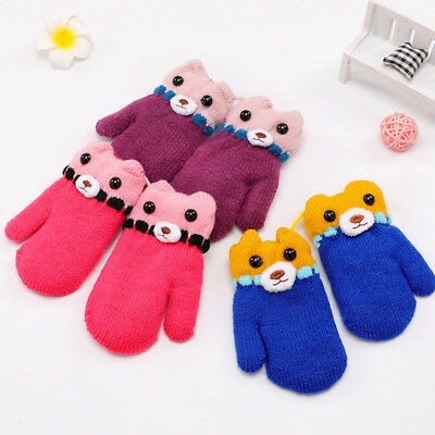 LX_ 1Pair Toddler Baby Boy Girl Winter Cartoon Bear Full Finger Gloves Mittens