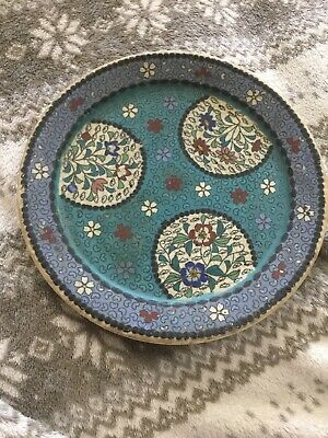 Rare Antique Chinese Or Japanese Cloisonne Style Pattern Pottery Plate