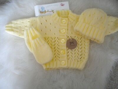 Hand Knitted Lemon Baby Set: Cardigan matching Hat & Mittens -size 0-3 months