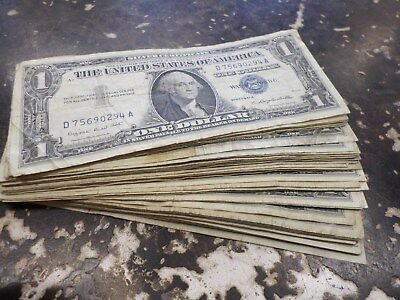 Lot Of Fifty-One (51) 1957A U.s. One Dollar Silver Certificates
