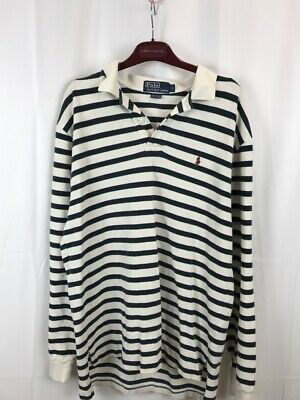 VTG Polo Ralph Lauren Rugby Long Sleeve Cotton Polo Shirt Striped - Size Large