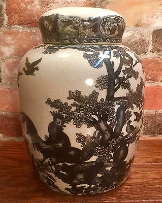 Ironstone Roosters & Rabbits Scene Vintage Ginger Jar with Lid