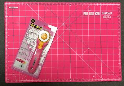 Set Of Olfa Pink Rotary Cutter + Double Sided Pink Cutting Mat 18'' x 12'' Olfa