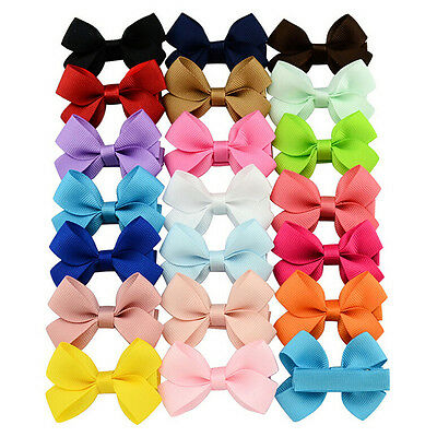 20x Baby Kid Big Hair Bows Boutique Girls Alligator Clip Grosgrain Ribbon Lovely