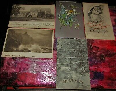5 Antique Collectable Postcards 1903-1907 Christmas Theme