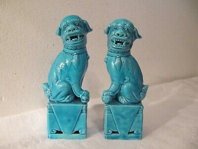 Pair Chinese Porcelain Turquoise Foo Dog Ornaments