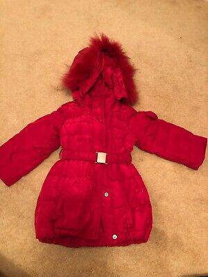 Girls Designer Monnalisa Red Coat With Fur Trimmed Detachable Hood Aged 12m