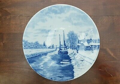 "10.6"" Antique Delft Blue Plate Wall Charger Water Boat Dutch scene by Louis Apol"