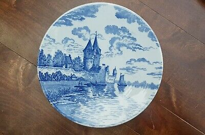"10.6"" Antique Delft Blue Plate Wall Charger Castel Boat Water Dutch scene"
