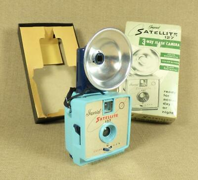 1960's Bright Blue IMPERIAL SATELLITE 127, 3-Way FLASH CAMERA & Original Box_USA